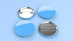 Blank blue badge on blue background. Pin button mockup. 3D rendering illustration Royalty Free Stock Photo