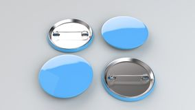 Blank blue badge on white background. Pin button mockup. 3D rendering illustration Stock Image