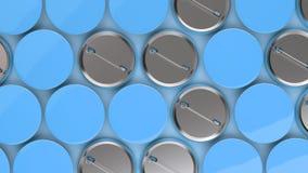 Blank blue badges on blue background. Pin button mockup. 3D rendering illustration Stock Image