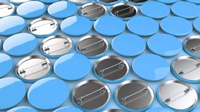 Blank blue badges on blue background. Pin button mockup. 3D rendering illustration Stock Photography