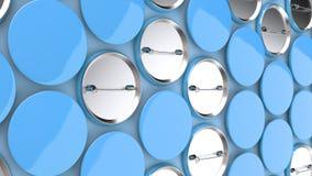 Blank blue badges on blue background. Pin button mockup. 3D rendering illustration Stock Images