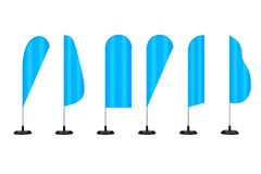 Blank Blue Banner Feather Flag Stands. 3d Rendering Royalty Free Stock Photos
