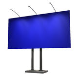 Blank blue billboard, isolated on white. 3d illustration Royalty Free Stock Photos