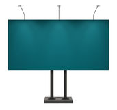 Blank blue billboard, isolated on white. With clipping path Royalty Free Stock Photo