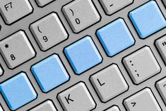 Blank blue buttons on the keyboard Royalty Free Stock Photos