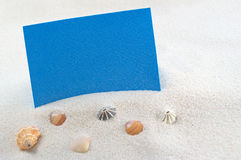 Blank Blue Card on Beach Setting Royalty Free Stock Image