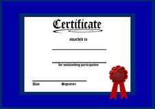 Blank blue certificate Royalty Free Stock Images