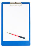 Blank blue clipboard with a pen Stock Images