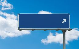 Blank blue freeway sign. Typical blue freeway sign with one arrow pointing toward the right royalty free stock photography