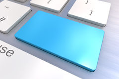 Blank Blue Keyboard button. A Colourful 3d Rendered Illustration showing a Blank Blue Keyboard concept on a Computer Keyboard Stock Images