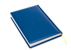 Blank blue leather covered book isolated Stock Images