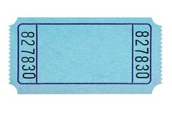 Blank blue raffle ticket isolated on white plain cut out. Blank blue raffle ticket isolated on white royalty free stock images