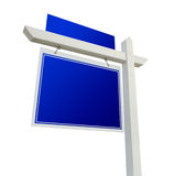 Blank Blue Real Estate Sign on White Stock Photos
