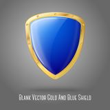 Blank blue realistic glossy shield with golden. Border isolated on grey background with place for your design and branding. Vector illustration Stock Photography