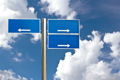 Blank Blue Road Sign Against Light Cloudscape Royalty Free Stock Images