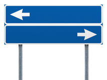 Blank blue road sign with arrows Stock Images