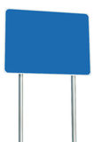 Blank Blue Road Sign Isolated, Large Perspective Copy Space, White Frame Roadside Signpost Signboard Pole Post Empty Signage. Blank Blue Road Sign Isolated Royalty Free Stock Photo