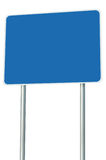 Blank Blue Road Sign Isolated Large Perspective Copy Space White Frame Roadside Signpost Signboard Pole Post Empty Traffic Signage. Blank Blue Road Sign Isolated Royalty Free Stock Image