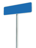 Blank Blue Road Sign Isolated, Large White Frame Framed Roadside Signboard Perspective Copy Space Background Royalty Free Stock Photography