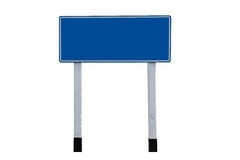 Blank Blue Road Sign. Pair of roadsigns in blue color isolated on white background royalty free stock photos