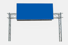 Blank Blue Road Sign. Pair of roadsigns in blue color isolated on white background stock photo
