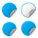 Blank blue round stickers with curl sets Royalty Free Stock Photo