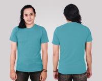 Blank Blue Shirt on Asian Male Model Stock Image