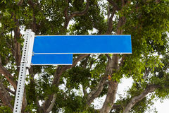 Blank blue street sign Stock Photography
