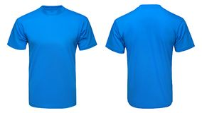 Blank blue t-shirt mock up template, front and back view, isolated white background. Blank blue t-shirt mock up template, front and back view, isolated on white stock image