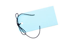 Blank blue tag with string. Stock Photography
