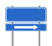 Blank blue traffic sign with white arrow. On white Stock Photos