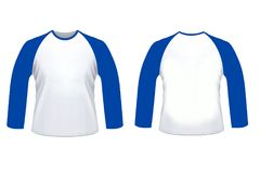 Blank Blue White Raglan Long Sleve Shirt Mock Up Templat Royalty Free Stock Images