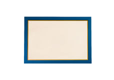 Blank blue wooden frame isolated. On white Royalty Free Stock Image