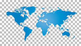 Blank blue world map on background. World map vector te vector illustration
