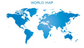 Blank blue world map isolated on white background. Stock Images