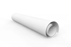 Blank blueprint roll of paper Stock Photography