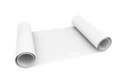 Blank blueprint roll of paper Stock Image
