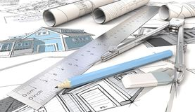 House Design Sketches.. Blue Theme Architectural house drawings and sketches. Rolls, Ruler, Pencil, Eraser and Divider of metal. Shallow depth of field, 3D Royalty Free Stock Photo