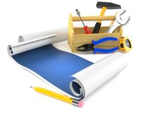 Blank blueprint with work tools. On white background Royalty Free Stock Photos