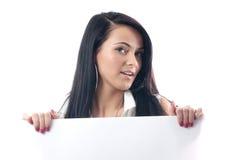 Blank board. Business woman showing blank sign board Stock Photo