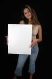 Blank board-3. Woman holding a blank board Royalty Free Stock Photography