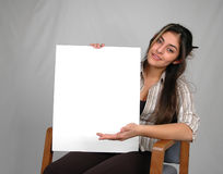 Blank board-6. Businesswoman holding blank board Stock Photo