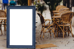 Blank Board menu, stand mock up, on the terrace, outdoors Stock Photo
