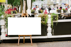 Blank Board menu, stand mock up, on the terrace, outdoors Royalty Free Stock Images