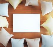 Blank board with pillows Stock Photos