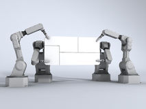 Blank board with robots Royalty Free Stock Images