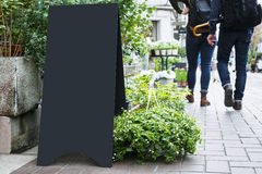 Blank Board stand mock up Black metal Signage Outdoor Royalty Free Stock Photo