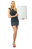 Blank board and  woman Royalty Free Stock Photo