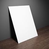 Blank board on wooden table. 3D illustration Stock Images