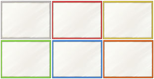 Blank Boards With Six Color Frames Royalty Free Stock Images